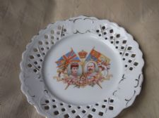 RARE RIBBON DISPLAY PLATE GEORGE V QUEEN MARY DIEU ET MON DROIT 8.5""
